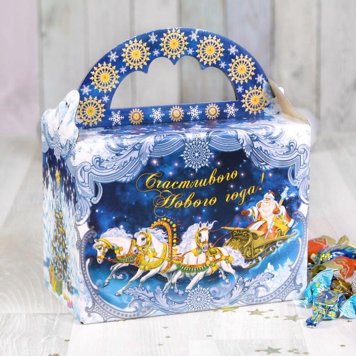 Складная коробка «Тройка Деда Мороза», 21 х 12 х 16 см, вместимость - 1000 гр.