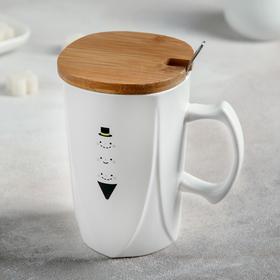 Кружка «Мысли», 420 мл, с деревянной крышкой и ложкой, рисунок МИКС