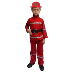 Карнавальный костюм 'Пожарный', куртка, брюки, ремень, каска, р-р 34, рост 134 см Ош
