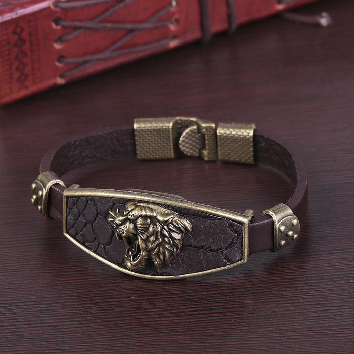 """Браслет унисекс """"Атлант"""" тигр, цвет медный в коричневом,L=22 см"""