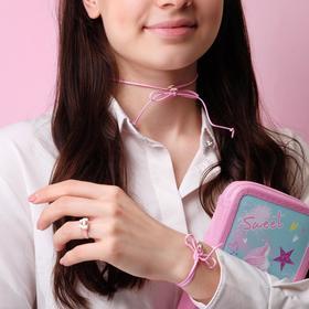 Набор детский 'Выбражулька' 3 предмета: кулон, браслет, кольцо, бантики, цвет МИКС Ош