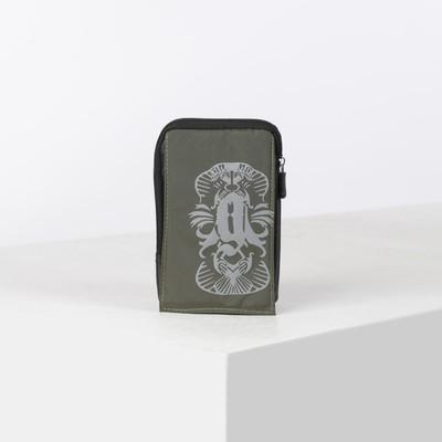 Сумка поясная, отдел на молнии, 2 наружных кармана, с карабином, цвет хаки