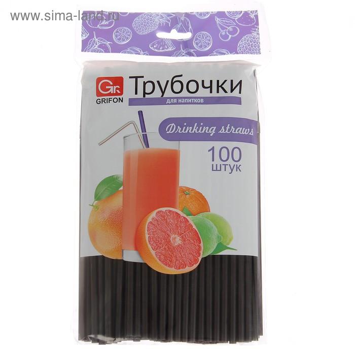 Набор трубочек для напитков 21 см Grifon, 100 шт, гофрированные, цвет черный
