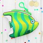 Кошелёк мягкий «Рыбка», на карабине, зеленая в полосочку