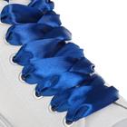 Шнурки для обуви, пара, атласные, плоские, 20 мм, 110 см, цвет синий