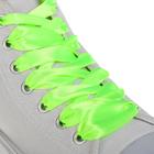 Шнурки для обуви, пара, атласные, плоские, 20 мм, 110 см, цвет салатовый неоновый