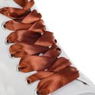 Шнурки для обуви, пара, атласные, плоские, 20 мм, 110 см, цвет коричневый
