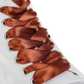 Шнурки для обуви, пара, атласные, плоские, 20 мм, 110 см, цвет коричневый Ош