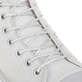 Шнурки для обуви, пара, круглые, серебряная нить, d = 3 мм, 110 см, цвет белый Ош
