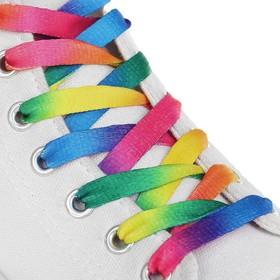 Шнурки для обуви, пара, плоские, 8 мм, 110 см, цвет «радужный» Ош