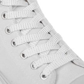 Шнурки для обуви, пара, плоские, 8 мм, 110 см, цвет белый Ош