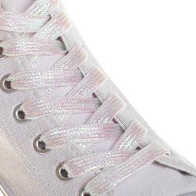 Шнурки для обуви, плоские, 8 мм, 110 см, пара, цвет перламутровый Ош