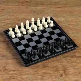 Шахматные фигуры, высота короля 3.8 см, пешки 1.9 см, пластик, чёрно-белые, в пакете Ош