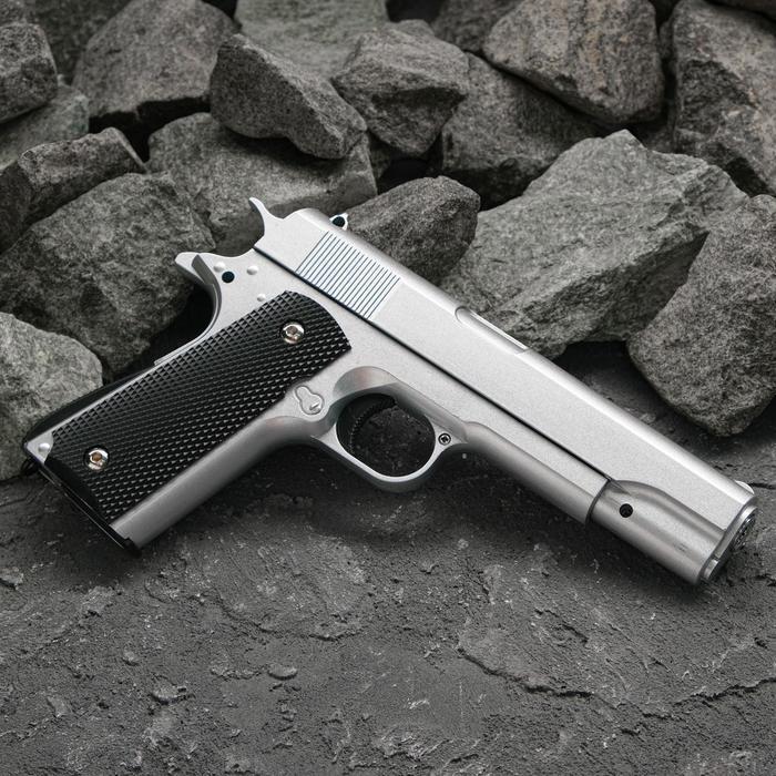 Пистолет пружинный Galaxy Colt 1911 G.13 серебристый, клб 6 мм