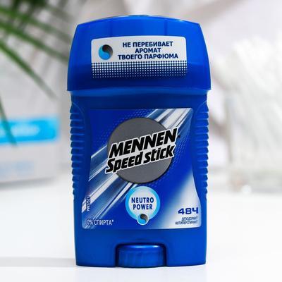 Дезодорант-антиперспирант Mennen Speed Stick Neutro Power, стик, 50 г - Фото 1