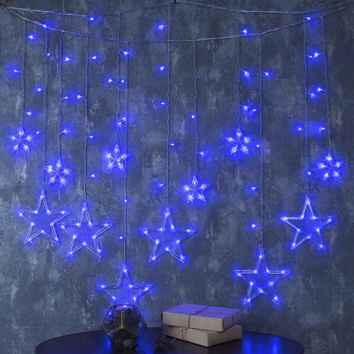 """Гирлянда """"Бахрома"""" 2.4 х 0.9 м с насадками """"Звёзды"""", IP20, прозрачная нить, 138 LED, свечение синее, 8 режимов, 220 В"""