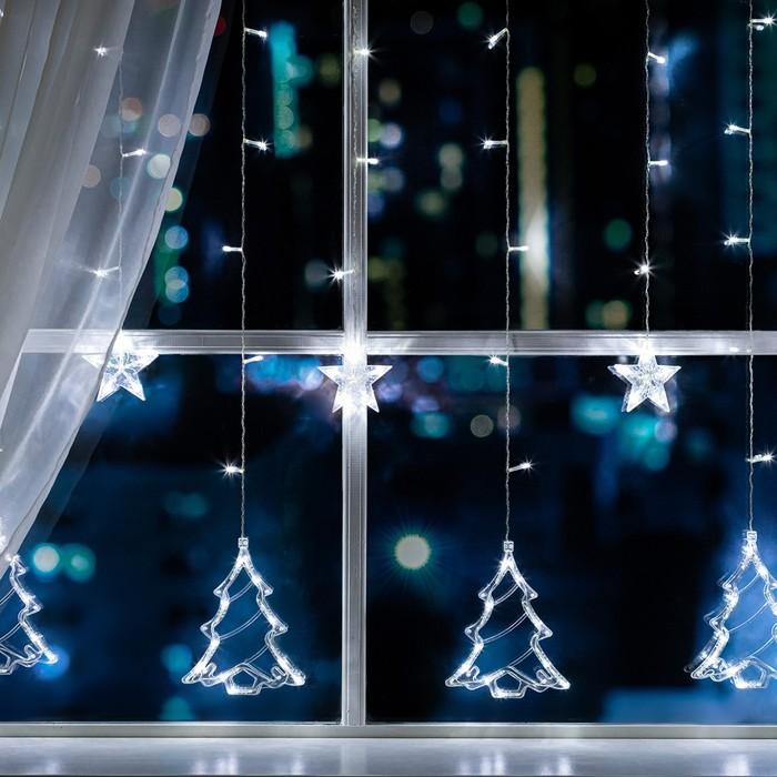 """Гирлянда """"Бахрома"""" 2.4 х 0.9 м с насадками """"Ёлки"""", IP20, прозрачная нить, 138 LED, свечение белое, 8 режимов, 220 В"""