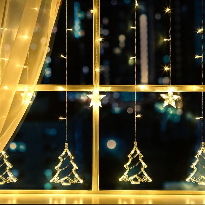 """Гирлянда """"Бахрома"""" 2.4 х 0.9 м с насадками """"Ёлки"""", IP20, прозрачная нить, 138 LED, свечение тёплое белое, 8 режимов, 220 В"""