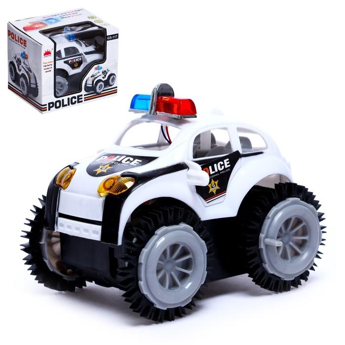 """Машина-перевёртыш """"Полиция"""", работает от батареек, световые эффекты"""