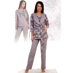 Комплект женский (халат, майка, брюки) «Уют», цвет кофейный, размер 46