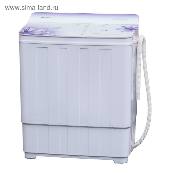 Стиральная машина Optima МСП-68СТ, мах загрузка 6.8 кг, п/авт., белое стекло, синие цветы