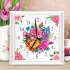 Картина по номерам - часы «Цветы», 30х30 см