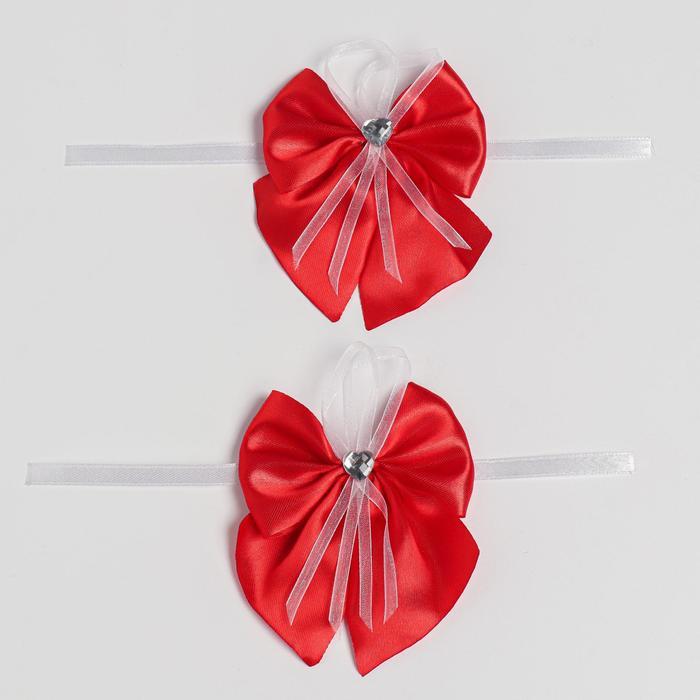 Бант-бабочка свадебный для декора, атласный, 2 шт, красный