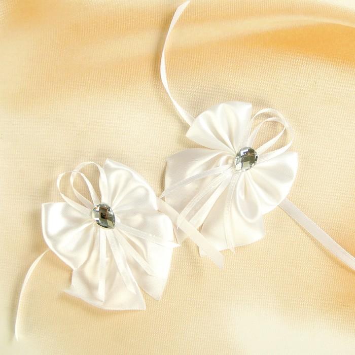 Бант-бабочка свадебный для декора, атласный, 2 шт, белый, МИКС