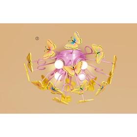 Светильник 'Бабочки', 4x75Вт E27, цвет розовый Ош