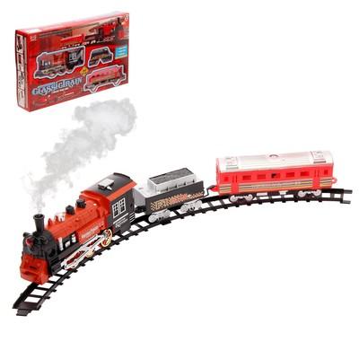 Железная дорога «Классический поезд», свет и звук, с дымом, работает от батареек - Фото 1
