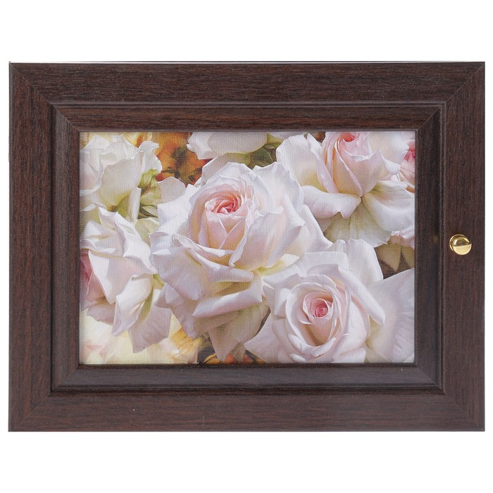 """Ключница """"Белые розы"""" венге 19х24 см"""