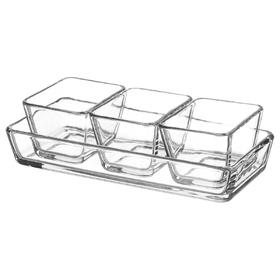 Набор форм-блюд, 3 шт 9х7 см, 1 шт 24х11см, прозрачное стекло МИКСТУР