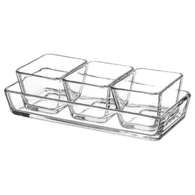 Набор форм-блюд, 3 шт 9х7 см, 1 шт 24х11см, прозрачное стекло МИКСТУР - Фото 1