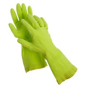 Перчатки резиновые с внутренним хлопковым напылением, размер L, пара, цвет зелёный