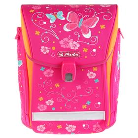 Ранец на замке Herlitz MIDI NEW, 38 х 32 х 26, для девочки, Butterfly, розовый