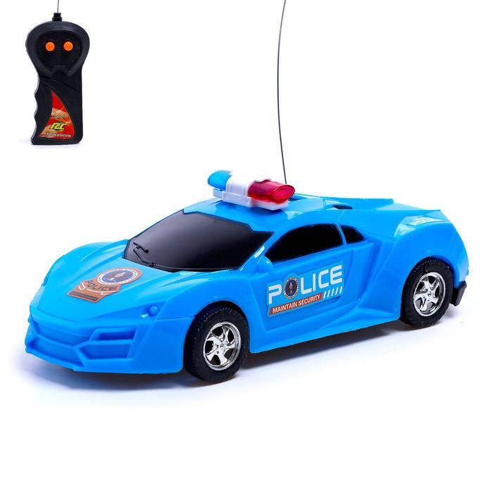 Машина радиоуправляемая Полиция, работает от батареек, световые эффекты, цвета МИКС