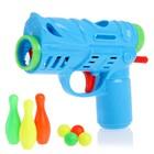 Пистолет «Весёлый боулинг», с кеглями, стреляет шариками, цвета МИКС