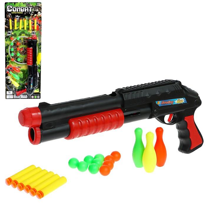 """Ружьё """"Комбат"""", с кеглями, стреляет мягкими пулями и шарами"""