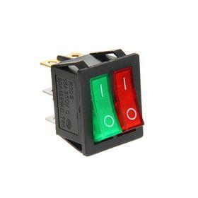 Выключатель клавишный REXANT RWB-511, 15А (6с), 250 В, ON-OFF, с подсветкой, красный/зеленый Ош