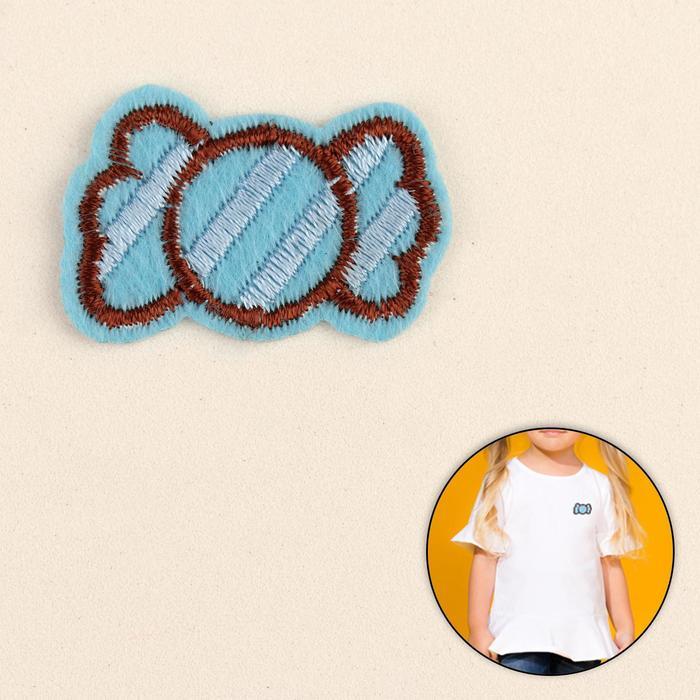 Термоаппликация «Конфета», 3,5 ? 2,1 см, цвет голубой