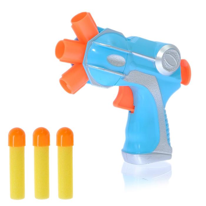 """Пистолет """"Тройной заряд"""", стреляет мягкими пулями, цвета МИКС"""