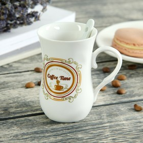 Кружка «Кофе», 100 мл, с ложкой, рисунок МИКС