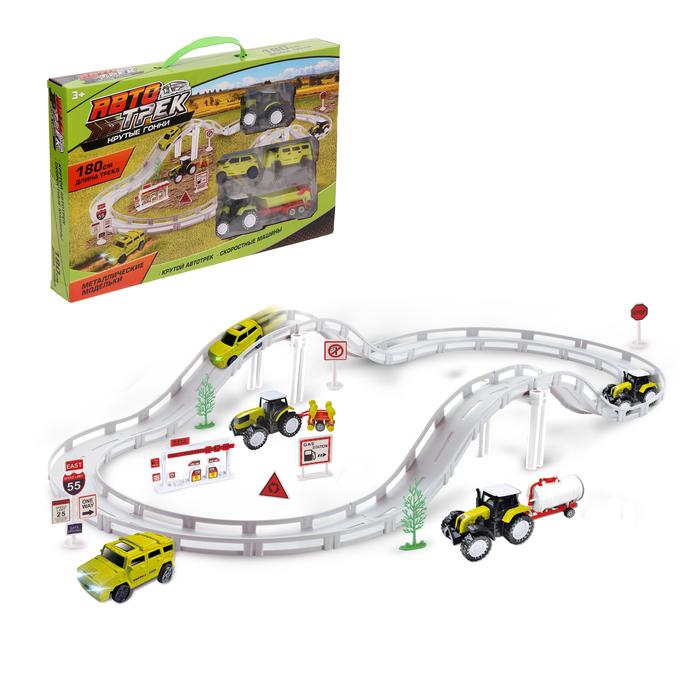 """Автотрек """"Экстремальные гонки"""", длина трассы 180 см, 1 машина работает от бат.+сменный кузов, металл. машины"""