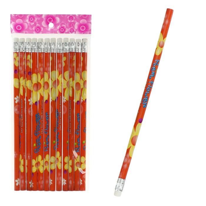 Карандаш чернографитный с ластиком, HB, корпус, Цветы