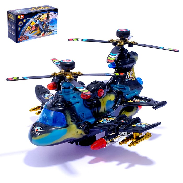 """Вертолет """"Воздушный бой"""", работает от батареек, световые и звуковые эффекты"""