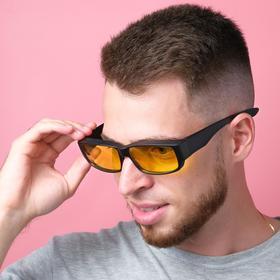 Очки солнцезащитные водительские, линза желтая, дужки черные широкие, без лого 14х4х4 см Ош