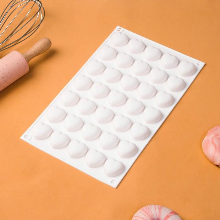 Форма для муссовых десертов и выпечки Доляна «Сердца», 29,7×17,3 см, 35 ячеек (2,5×2,3 см), цвет белый