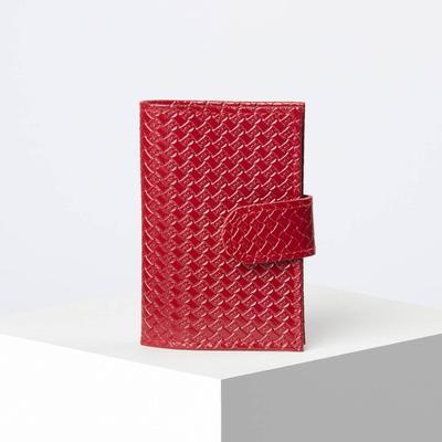 Визитница, вертикальная, с хлястиком, плетёнка, цвет красный