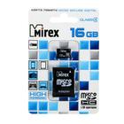 Карта памяти Mirex microSD, 16 Гб, SDHC, класс 4, с адаптером SD
