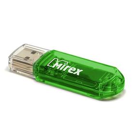 Флешка Mirex ELF GREEN, 16 ГБ, чт до 25 Мб/с, зап до 15 Мб/с, зеленая Ош